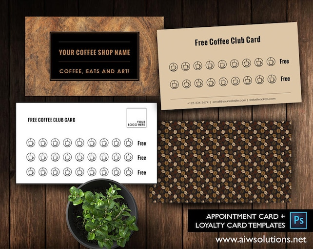 Free coffee card template free salon loyalty business card etsy image 0 friedricerecipe Image collections