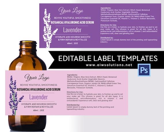 lavender label template product label skin care label etsy