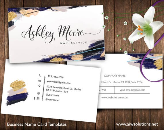 Gold And Blue Business Cards Name Card Template Cute Etsy