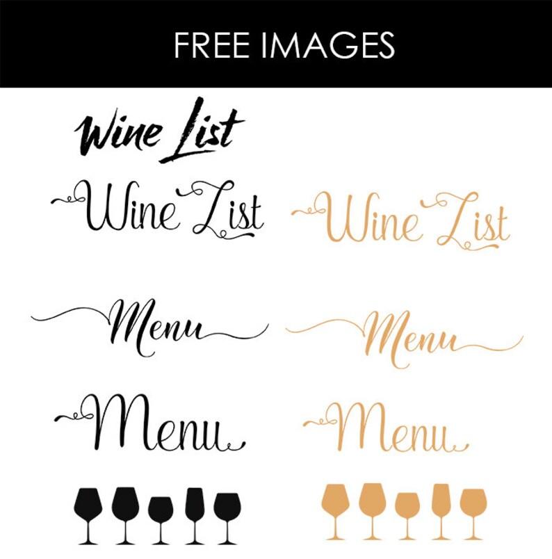 Wedding Food Menu Samples: Wine List Wine Menu Template Wedding Print Drink Menu