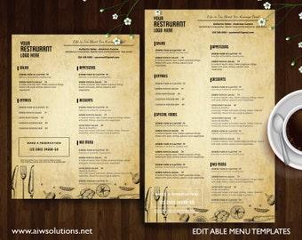 Vintage Menu Templates, Printable Restaurant Menu Template, italia Menu Template,DIY bar menu template, asia food menu