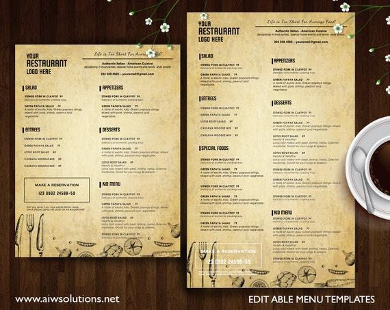 vintage menu templates printable restaurant menu template etsy