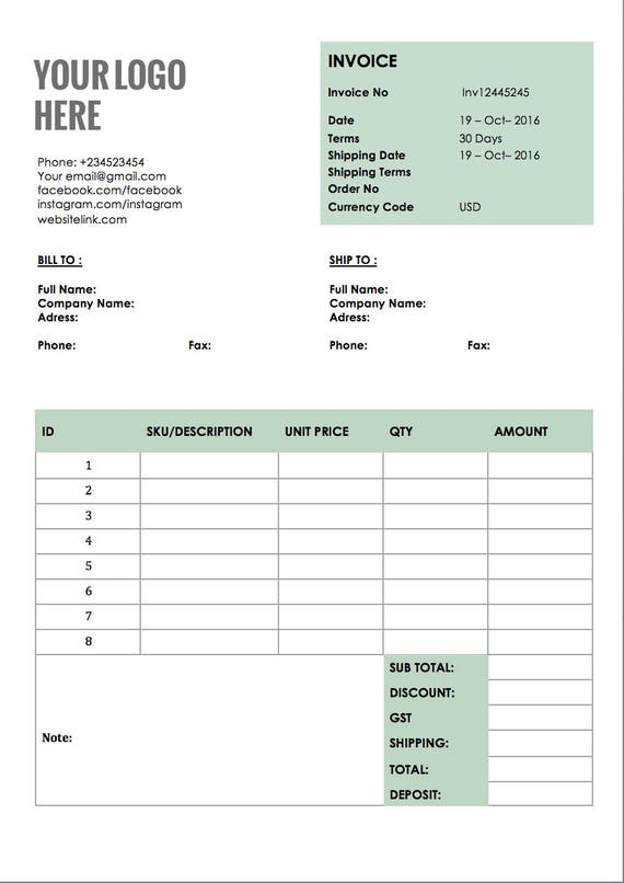 Photography Invoice Template Editable Invoice Receipt Template Business Invoice Template Quote Template Printable Invoice Template