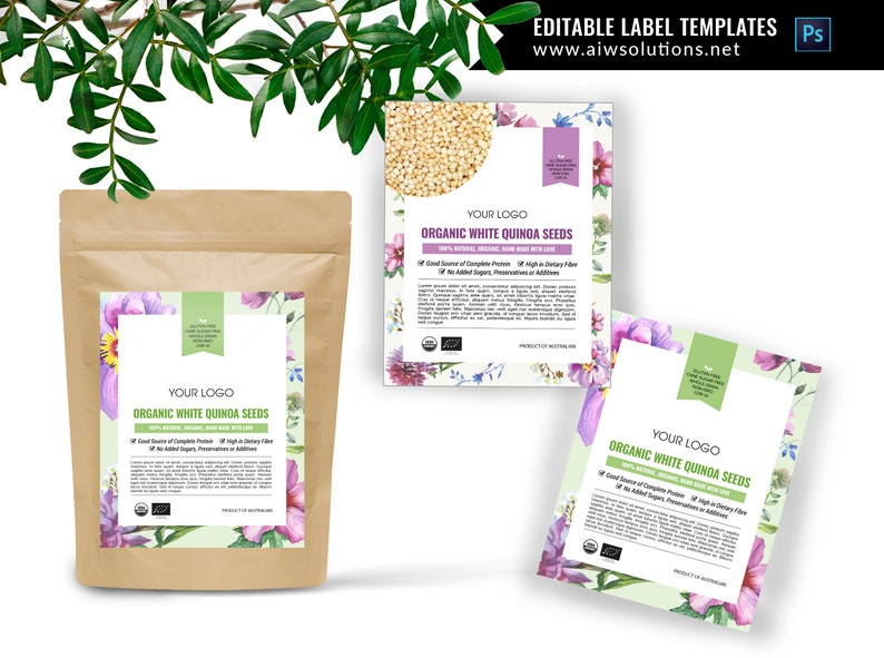 pouch label template, Product label design, editable product labels, food  label templates, cometic label templates, kraft bag label design