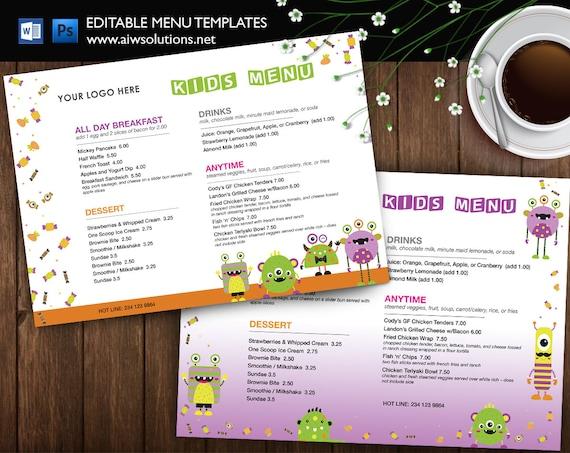 Kids Meal Menu Kids Menu Restaurant Kid Style Kid Etsy