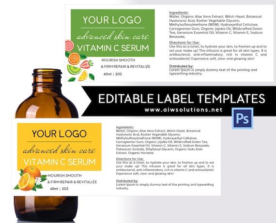 skin care label templatejar labelskin care label serums etsy