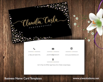 business cards printable name card template photography name. Black Bedroom Furniture Sets. Home Design Ideas