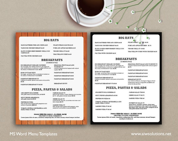 Food Menu Menus Design Takeout Us Restaurant