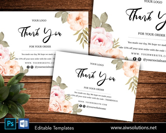 Simple And Elegant Editable Thank You Card Template Minimal Etsy