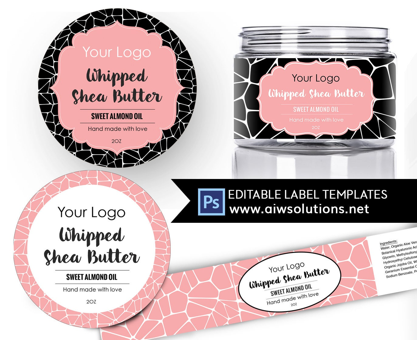 At Home Spa Day; Shea Butter label template, Body Butter label, Carrier Oils label, Fragrance Skin Care label, round label template, sticker template