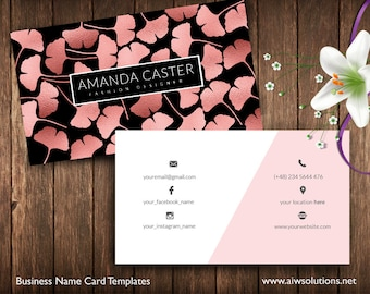 Rose Gold Ginkgo Leaves name card, Name Card Template, Photography name card, calling cards, DIY business cards, Ginkgo Leaves  gold