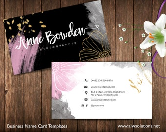 gold and pink Business Cards, Name Card Template, cute business card, calling cards, DIY business cards, EASY to Edit and Print at Home