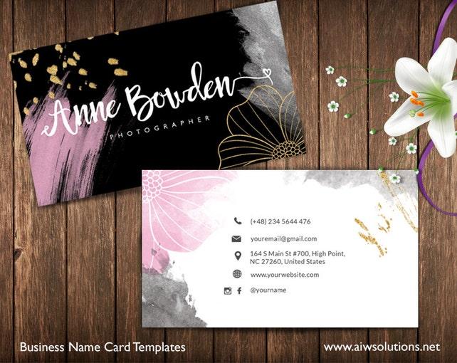Gold und rosa Visitenkarten Name Card Template süße | Etsy