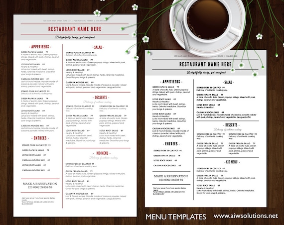 food menu templates printable restaurant menu template etsy
