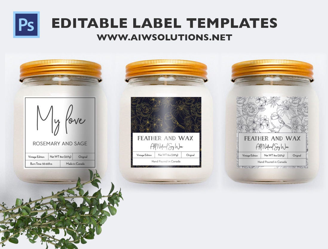 Black And White And Gold Label Template Cookie Mason Etsy
