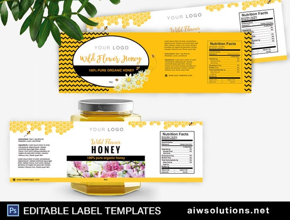 Honey Label Template, honey packaging, Honey Labels Template, Packaging and  design template for honey, wildflower honey label template