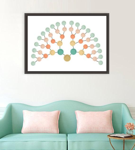 modern family tree art modern genealogy fan chart family etsy