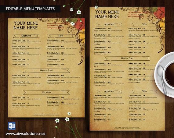 vintage menus american menu asian menus bakery menu etsy