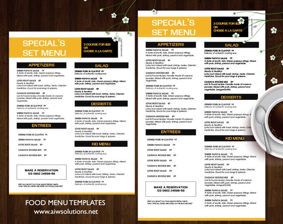 special set menu templates printable restaurant menu etsy