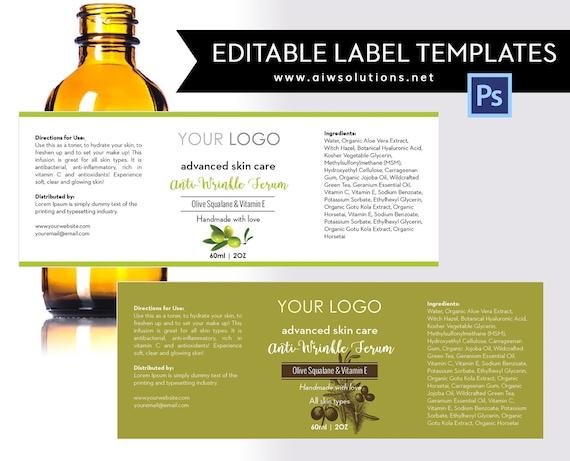 olive label template product labelolive skin care label etsy