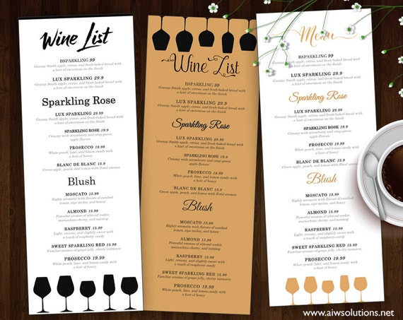 Wine List Wine Menu Template Wedding Print Drink Menu | Etsy