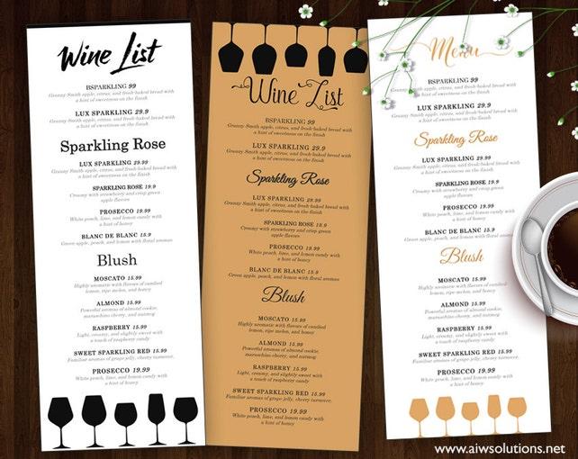 Wein Liste Wein-Menü-Vorlage Hochzeit Druck trinken Menü | Etsy