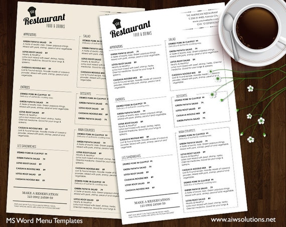 Food Menu Templates Printable Restaurant Menu Template | Etsy