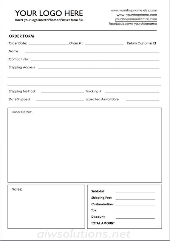 bestellen Sie ms Word Bestellformular Einzelhandel | Etsy