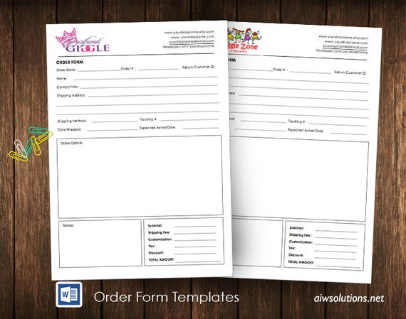 Order Form Wholesale Order Form Template Ms Word Order Form Etsy