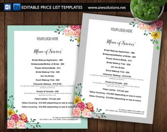 spa Price List cosmetic price guide service price guide