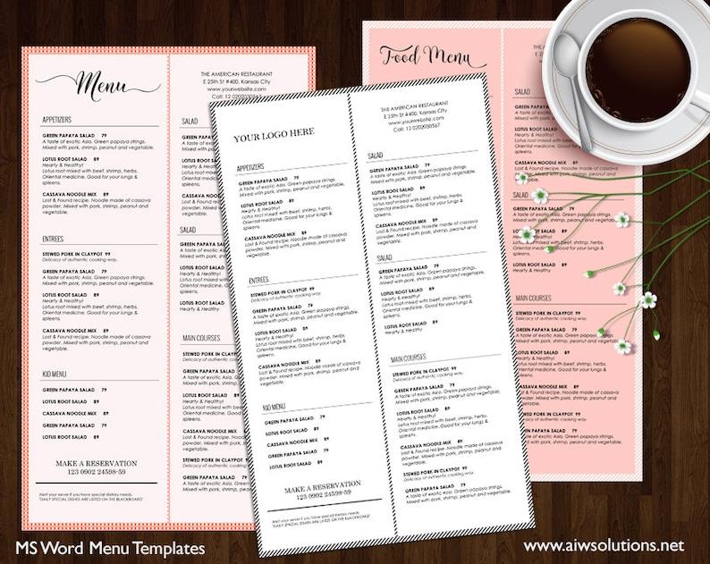 Food Menu Printable Restaurant Menu Template Wedding Menu Etsy