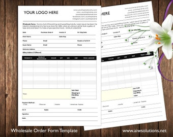 order form and Price Sheet on one page and 2 pages, Wholesale order form template, ms word order form, wholesale program,