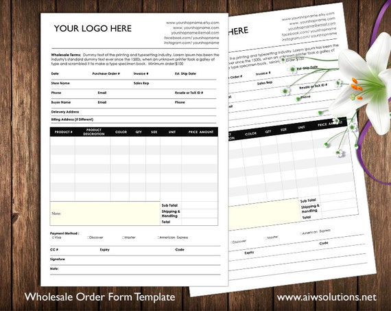 Order Form And Price Sheet On One Page And 2 Pages Wholesale Etsy