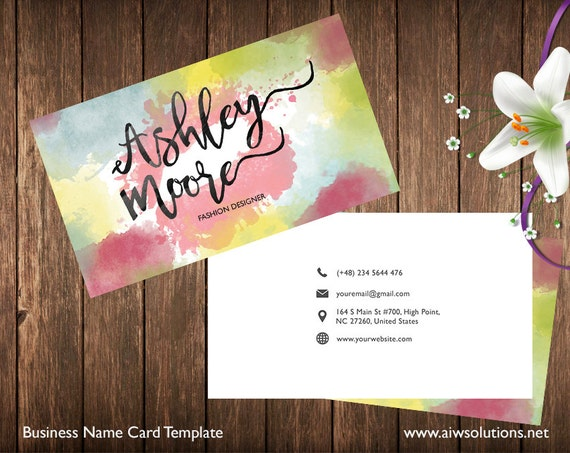 Business card template name card template photography name etsy image 0 friedricerecipe Image collections