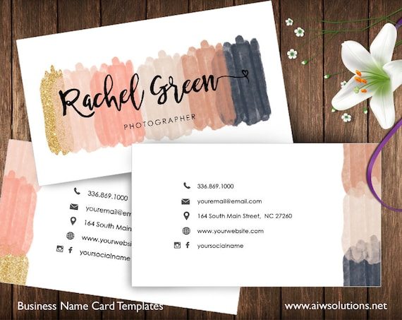 Beauty Salon Name Card Business Card Template Glitter Name Etsy