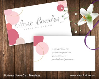 Business Cards Printable, Name Card Template, DIY business cards, Pink, light pink, glitter gold name card template