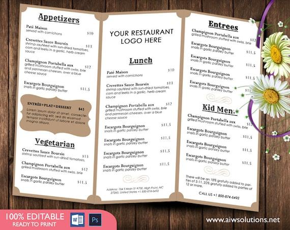 french menutemplates printable restaurant menu template etsy