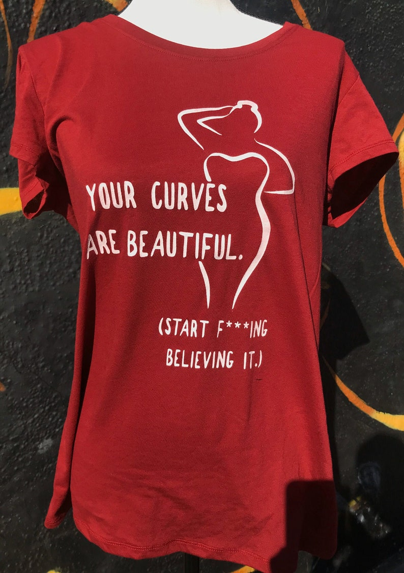 Your Curves Are Beautiful Maroon Scoop Neck Shirt