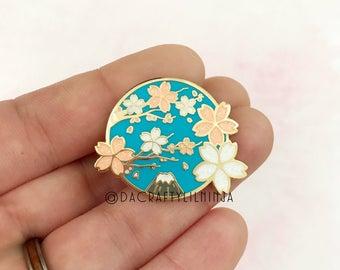 Sakura Branch with Mt. Fuji Glitter Lilninja Pin, Hard Enamel Pin, Kawaii Enamel Pin