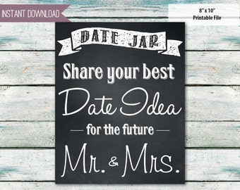 bridal shower sign date jar chalkboard look date ideas 8x10 instant download