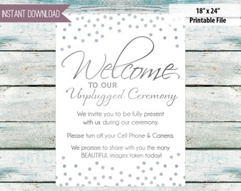 "Wedding Unplugged ceremony two files! 18"" x 24"" and 24"" x 36"" silver - instant download"