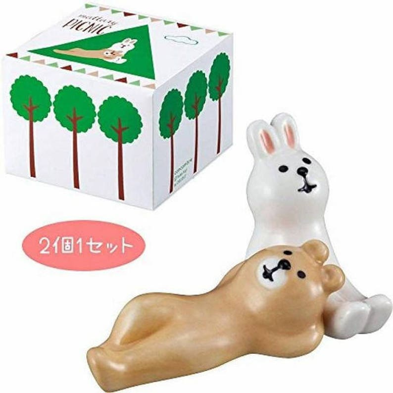 A Pair of Kawaii Rabbit and Bear Chopstick Rests Ceramic chopstick holder Cutlery Rests Tableware PotteryPorcelain