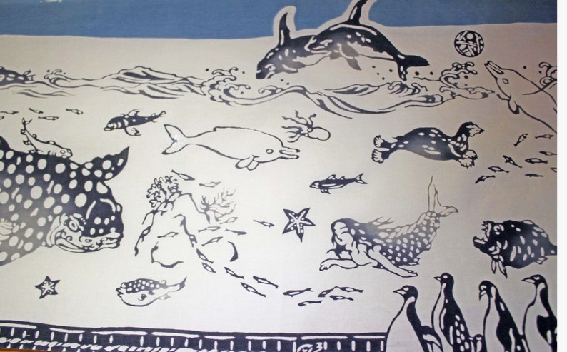 traditional hand-dyed cotton fabric Sea animals banner and gift Tenugui Japanese art for interior tapestry