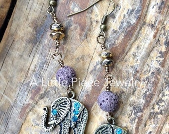 Elephant Charm Earrings with Lava Beads for Essential Oils - Diffusing