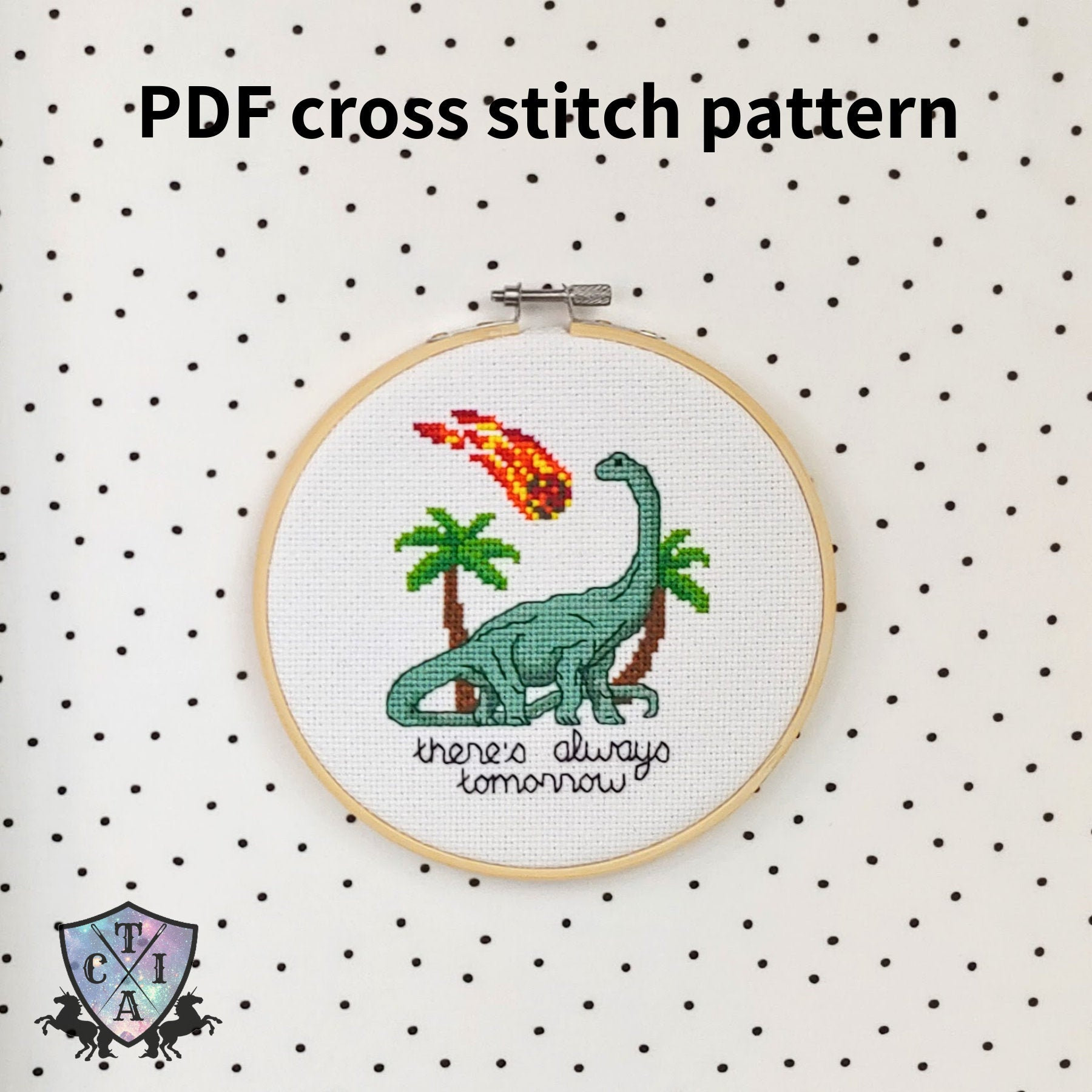 Funny Cross Stitch Pattern, There's Always Tomorrow Dinosaur Embroidery,  Modern Brontosaurus Needlepoint, PDF, Instant Download