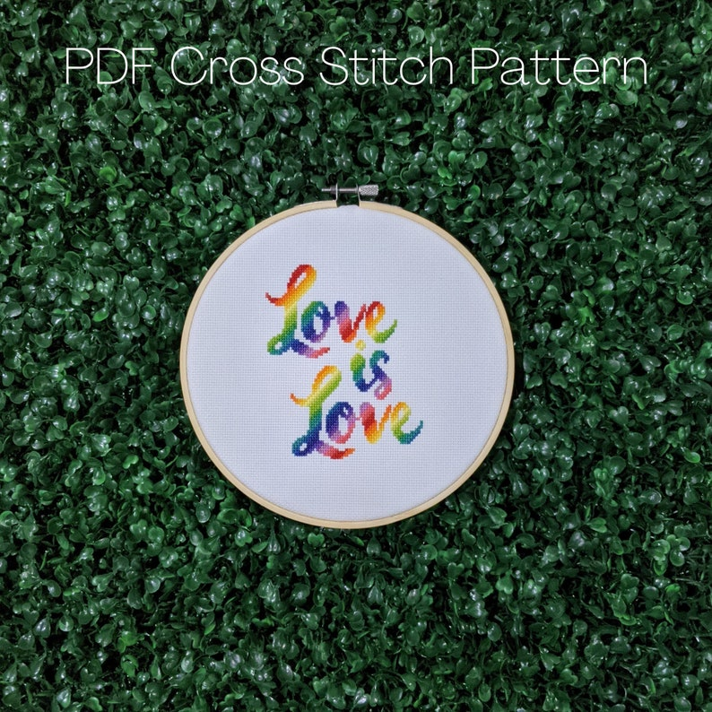 Love is Love Cross Stitch Pattern Gay Pride Embroidery LGBT image 0
