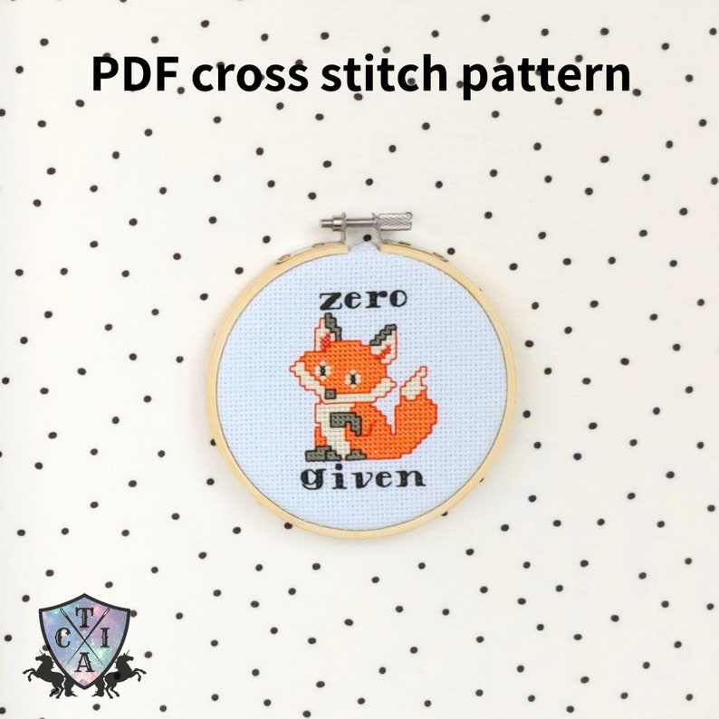 Zero Fox Given, Funny Cross Stitch Pattern, Sarcastic Embroidery, Cute  Humorous Hoop Art, Small Needlepoint - PDF, Instant Download