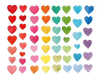 55 Watercolor Cliparts, Hearts Clipart, Handpainted Clipart, Watercolor Hearts