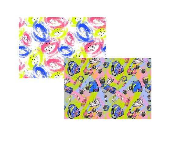 """A4 LovedbyGaby scrapbook paper """"workout"""""""