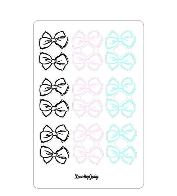 "LovedbyGaby stickers ""clear bow tabs pastel"""